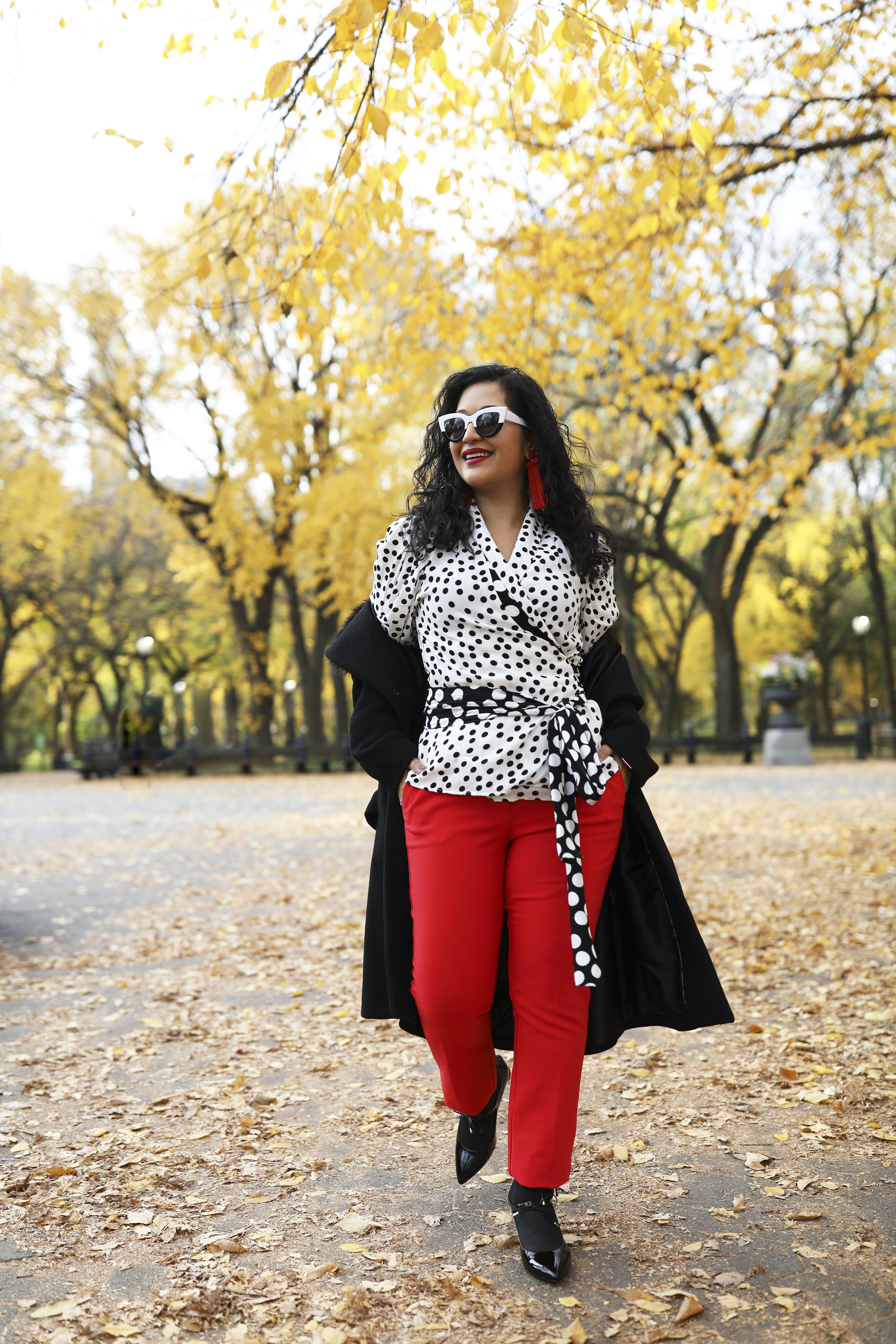 Polka dots with a pop color - Red is the perfect pop color to add to any look!