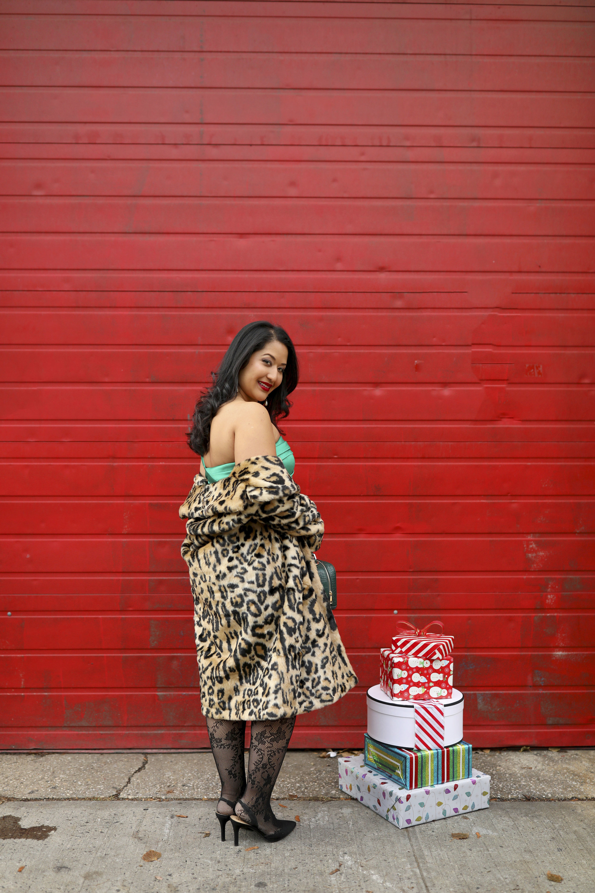 Krity S Holiday Outfit Cheetah Faux Fur