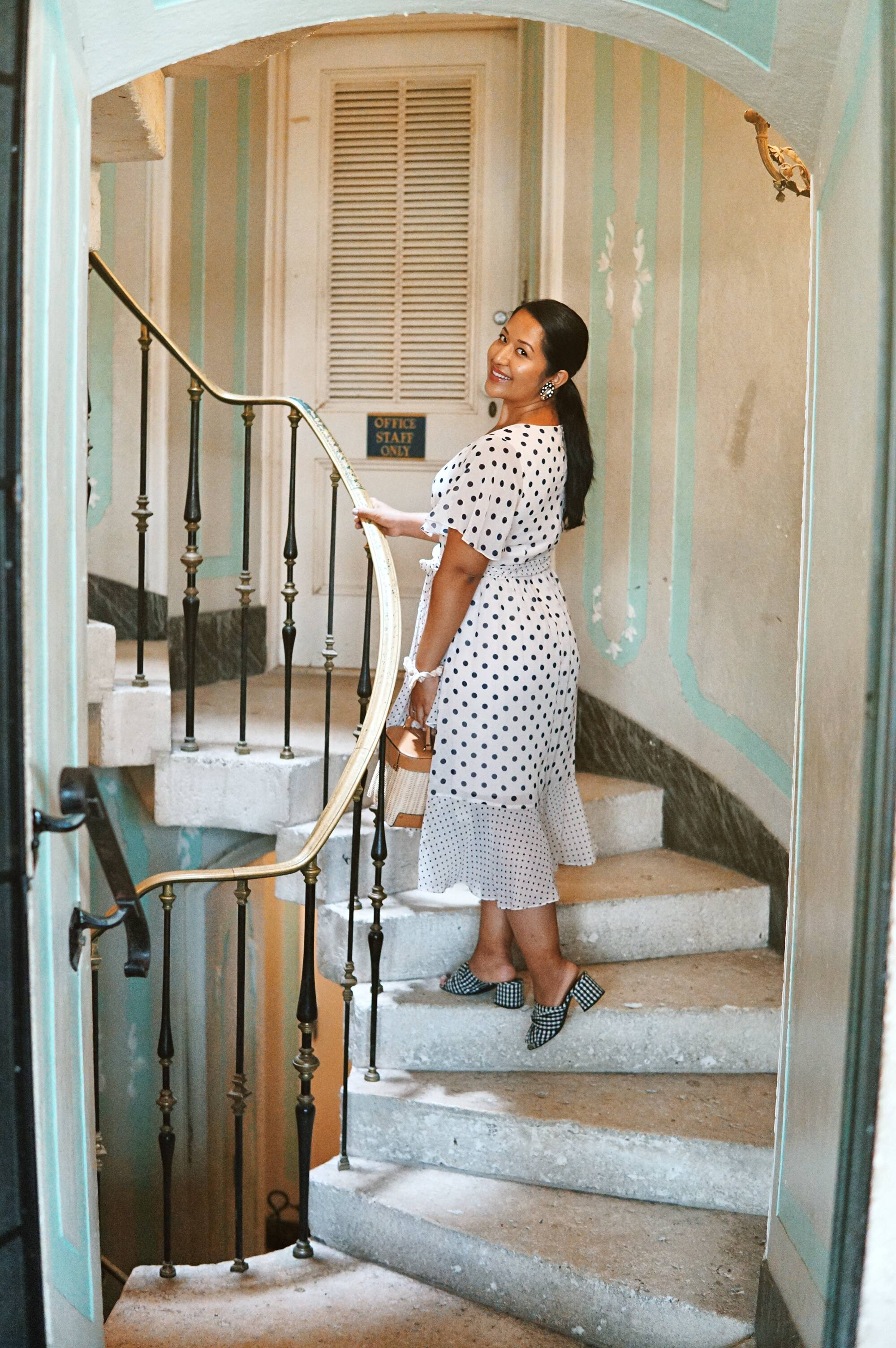 Polka Dot Chiffon dress and gingham mules