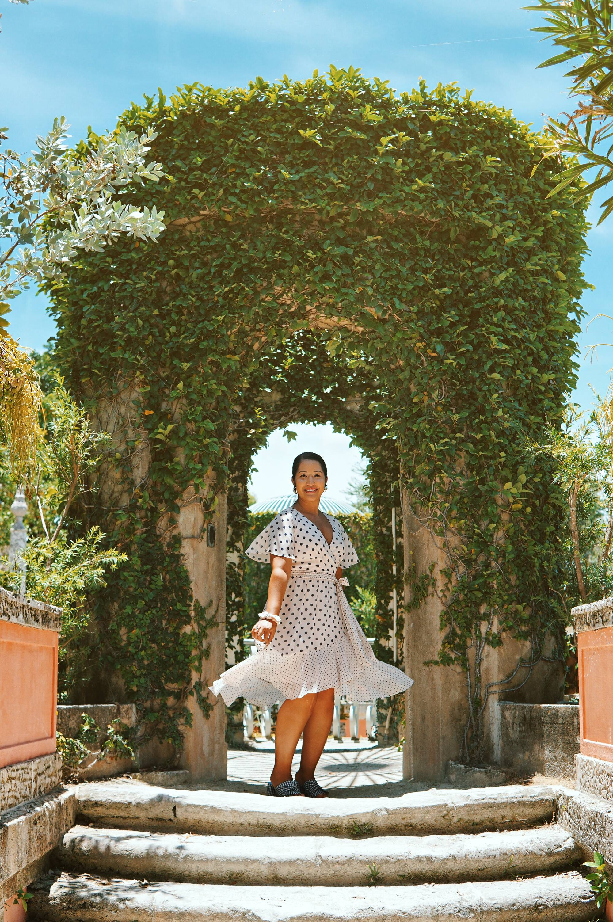 Polka Dot Chiffon dress at the Vizcaya Museum