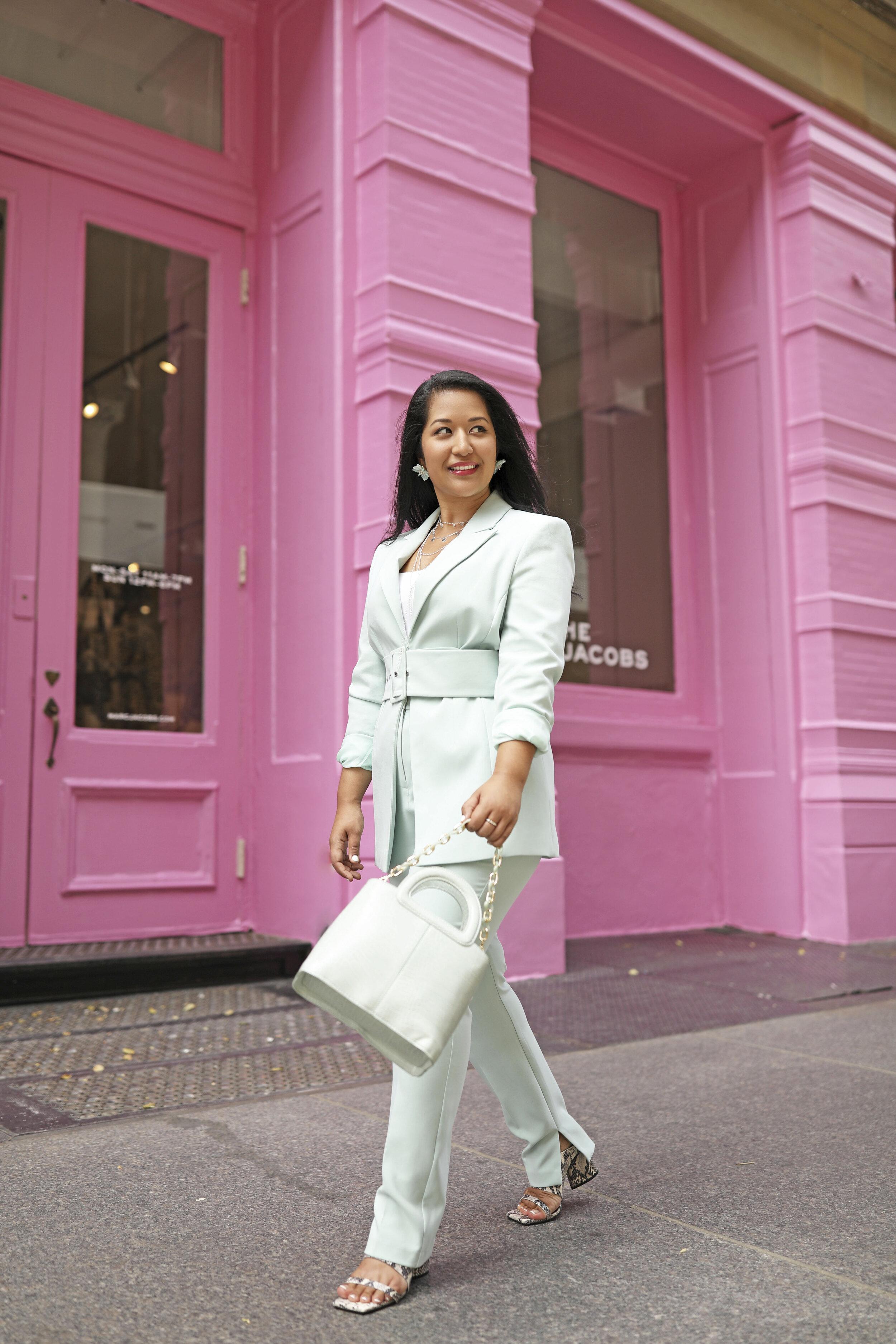 Mint color pant suit and bag