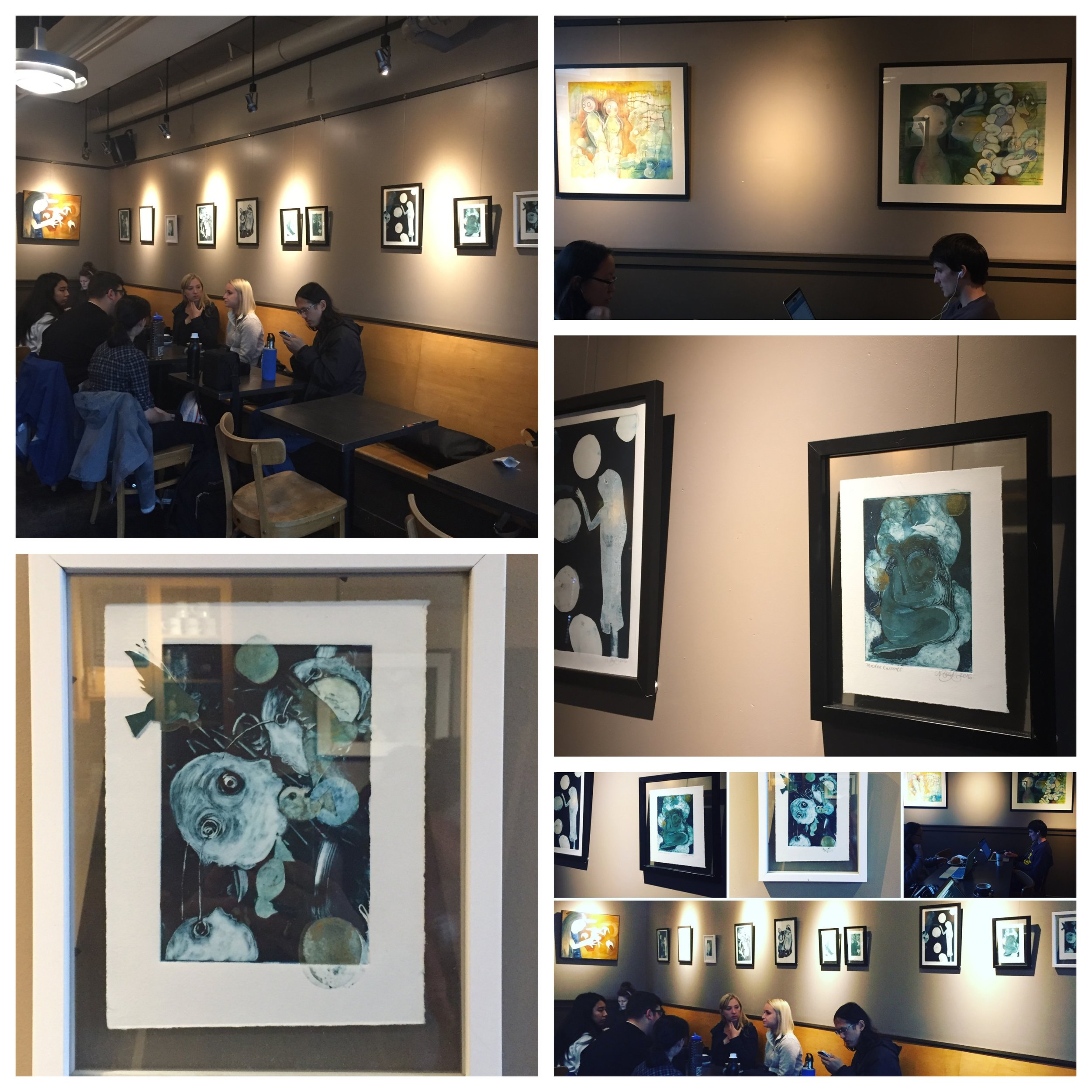 Monotypes, Linocut and some Oil Paintings are up now through December.