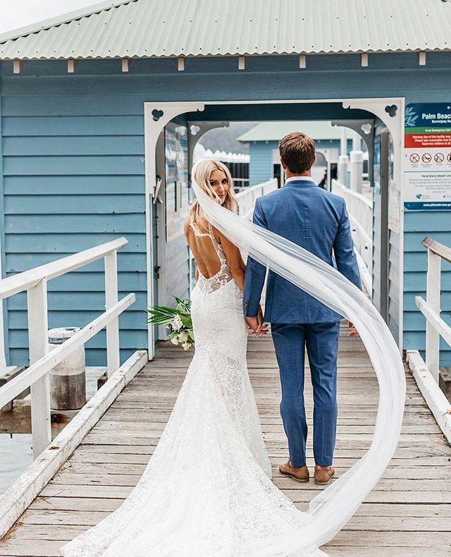 Renee + Nathan down by Palm Beach wharf.  A perfect spot for your wedding photos Photo @atdusk #theboathousegroup #mobydickswhalebeach #weddingphotos #palmbeach #weddings  