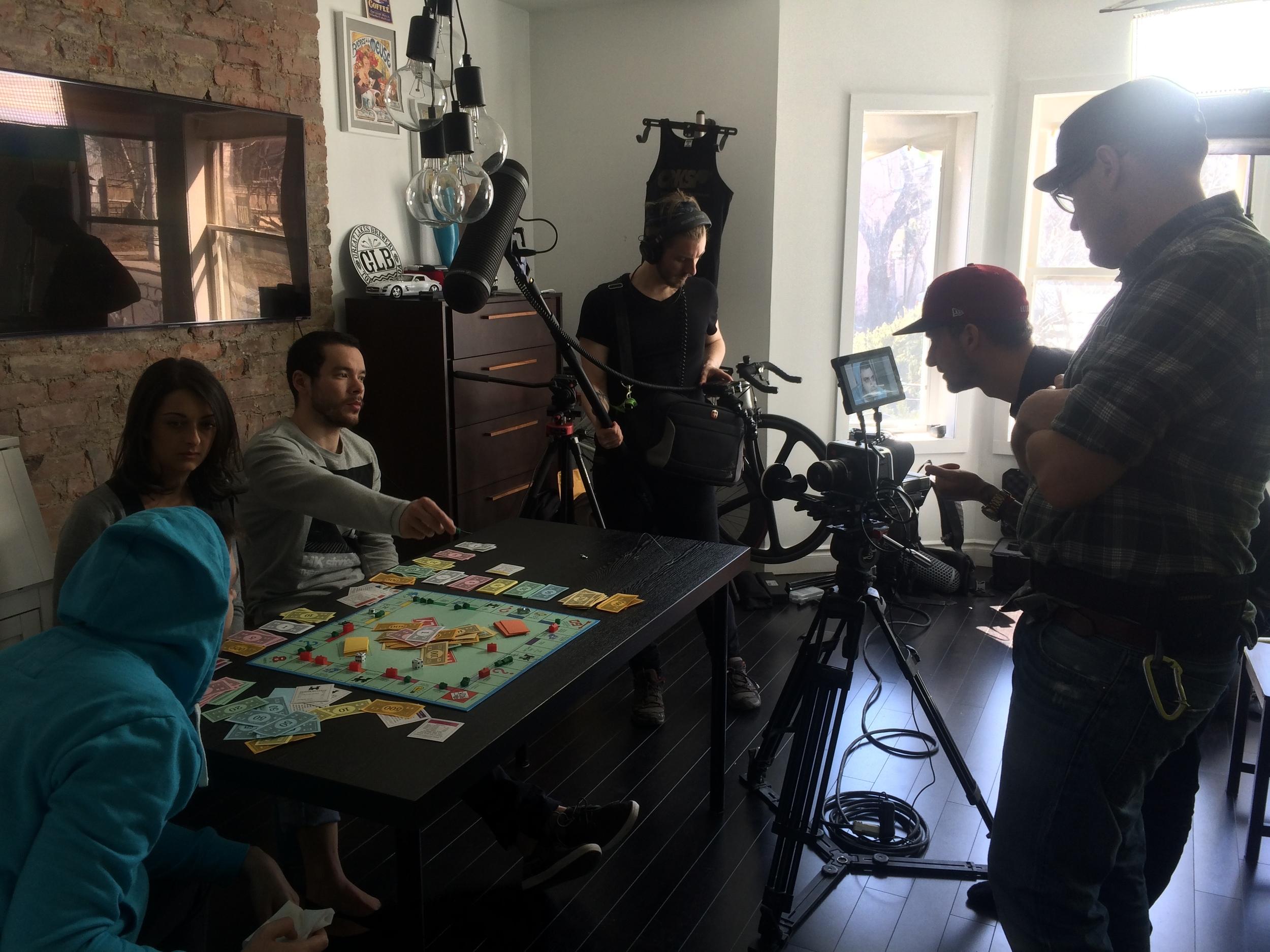 Filming the board game scene.