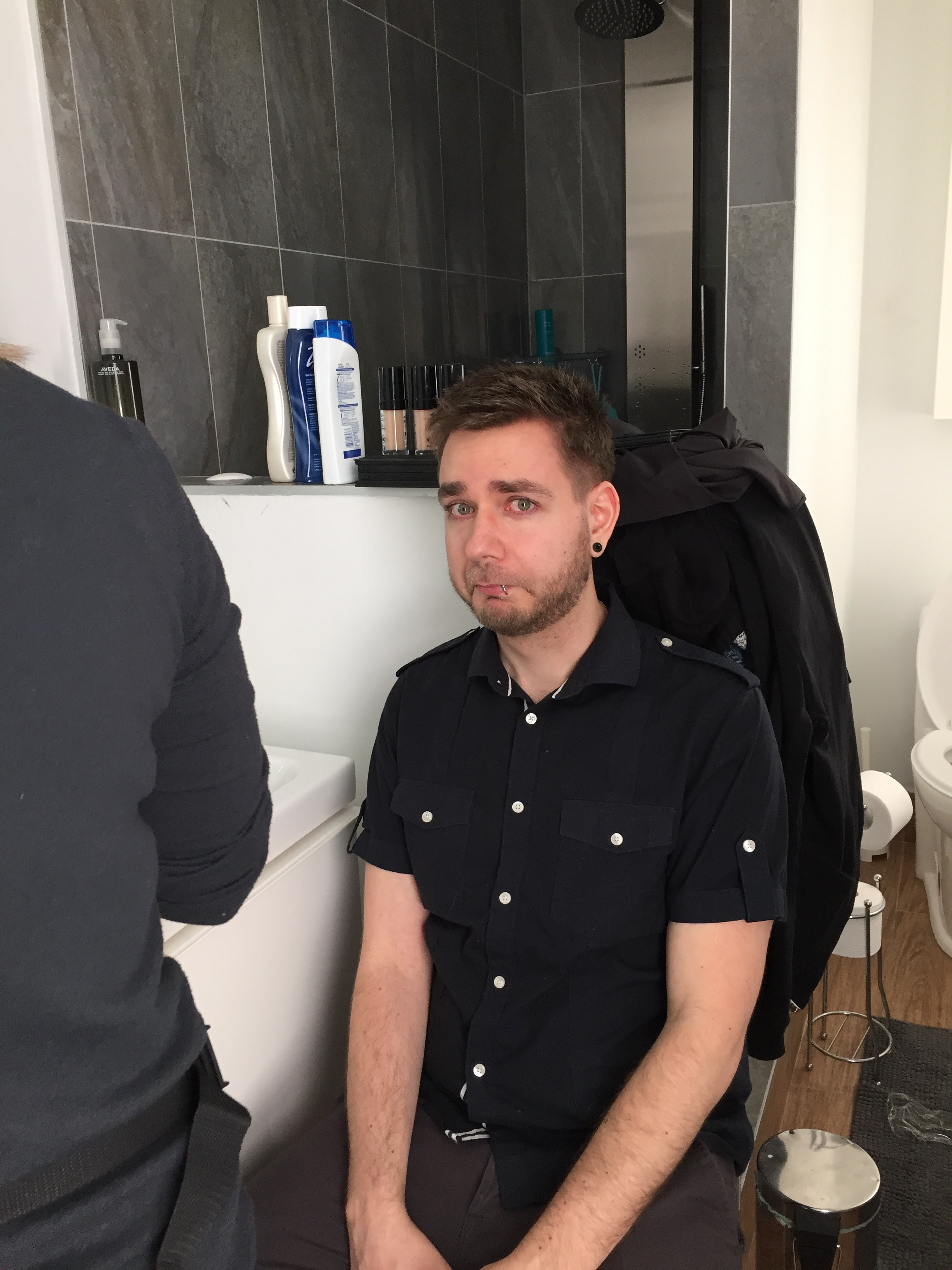 Scared about his first makeup session