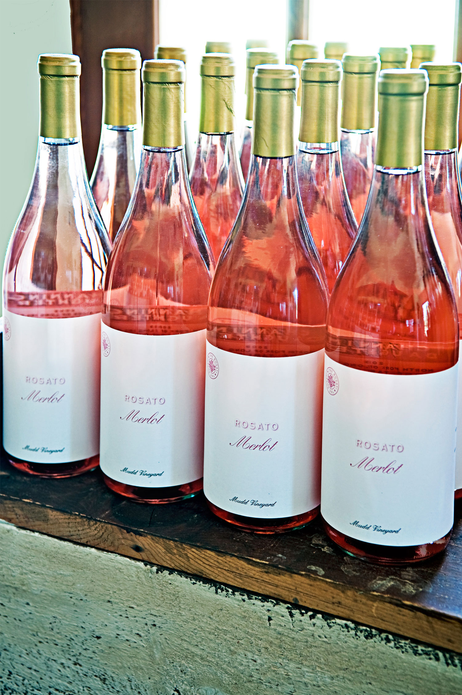 rose wine bottle in store