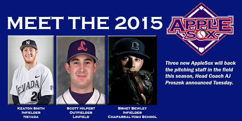 Keaton Smith, Scott Hilpert, and Brhet Bewley are the newest names headlining the 2015 AppleSox roster.