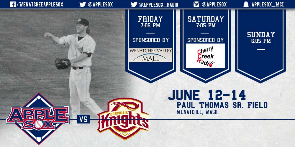 The AppleSox host the Corvallis Knights for a three-game set at Paul Thomas Sr. Field. The two winningest franchises in WCL history go toe-to-toe starting Friday night at 7:05 p.m.