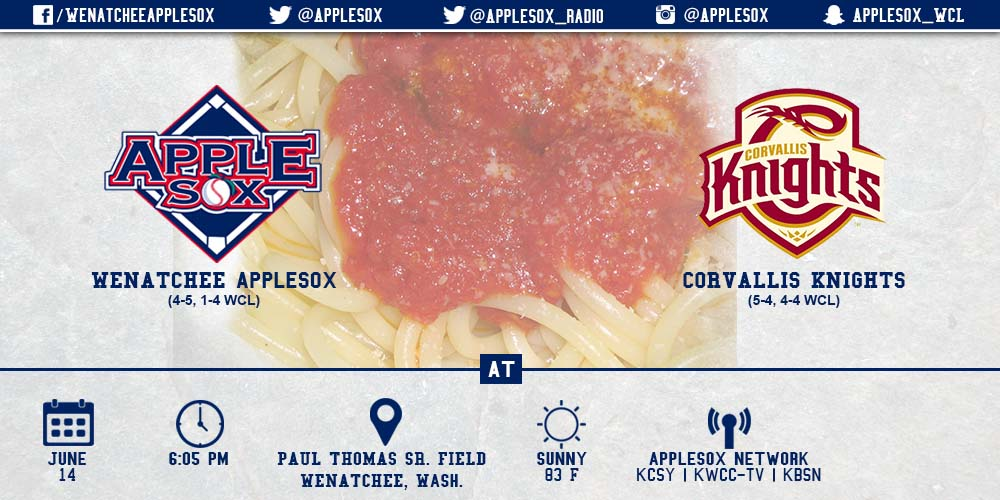 It's the second Spaghetti Sunday of the season, Sunday, with the AppleSox set to battle the Corvallis Knights.