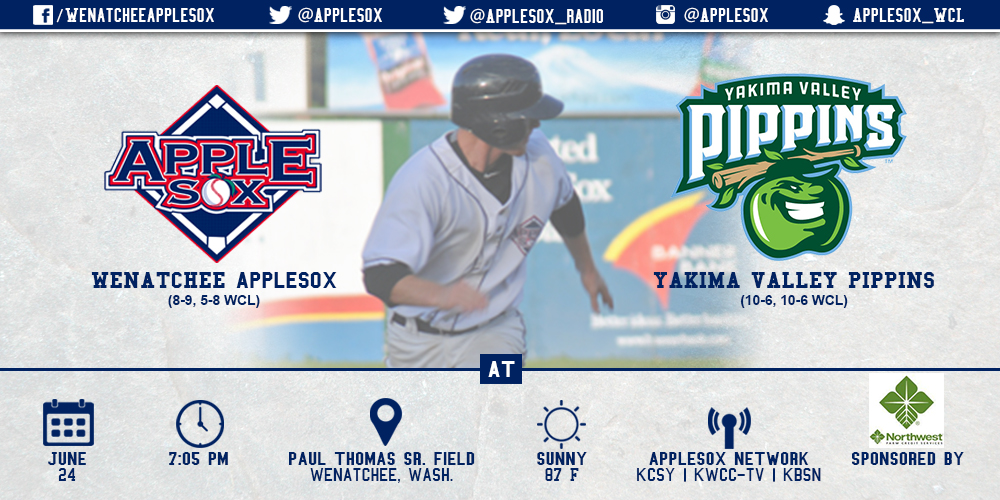 The AppleSox will look to even the series with the Yakima Valley Pippins, June 24, on Kid's Day at Paul Thomas Sr. Field.