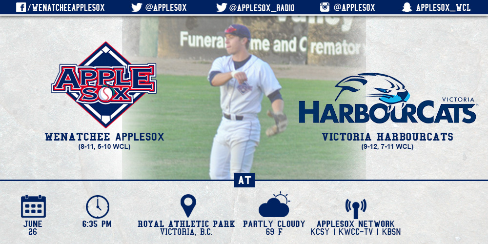 The AppleSox face the Victoria HarbourCats in the first of a three-game set, Friday-Sunday at Royal Athletic Park in Victoria, B.C.