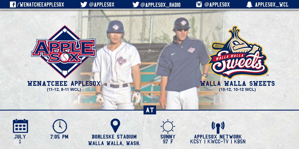 The AppleSox and Walla Walla Sweets meet at Borleske Stadium at 7:05 p.m., Wednesday night.