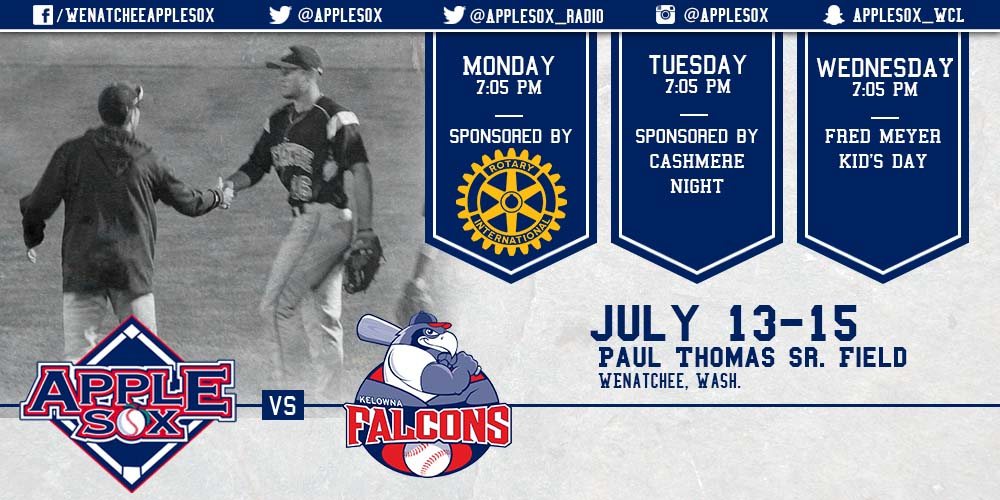 The AppleSox play a home-and-home six game series starting with three at Paul Thomas Sr. Field against the Kelowna Falcons, Monday.