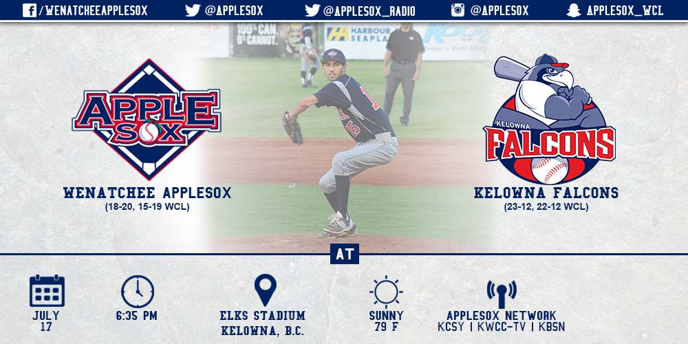 Brian Gadsby will get the start for the AppleSox tonight, as they go for a series win at Kelowna.