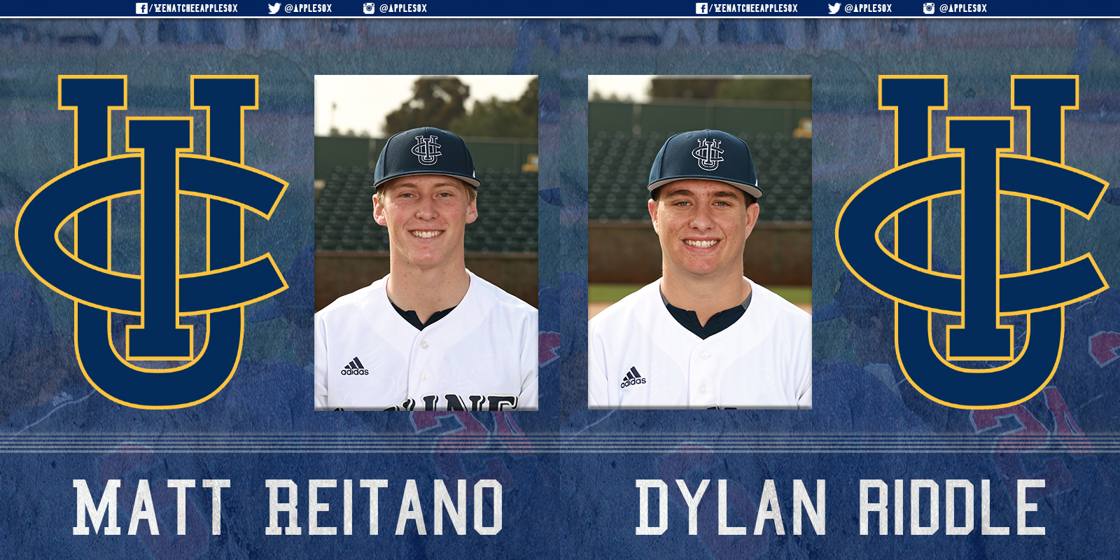 Two current UC Irvine Anteaters are set to wear an AppleSox uniform this summer. Pictured above are the AppleSox newest additions,left-handed pitcher Dylan Riddle and catcher Matt Reitano.