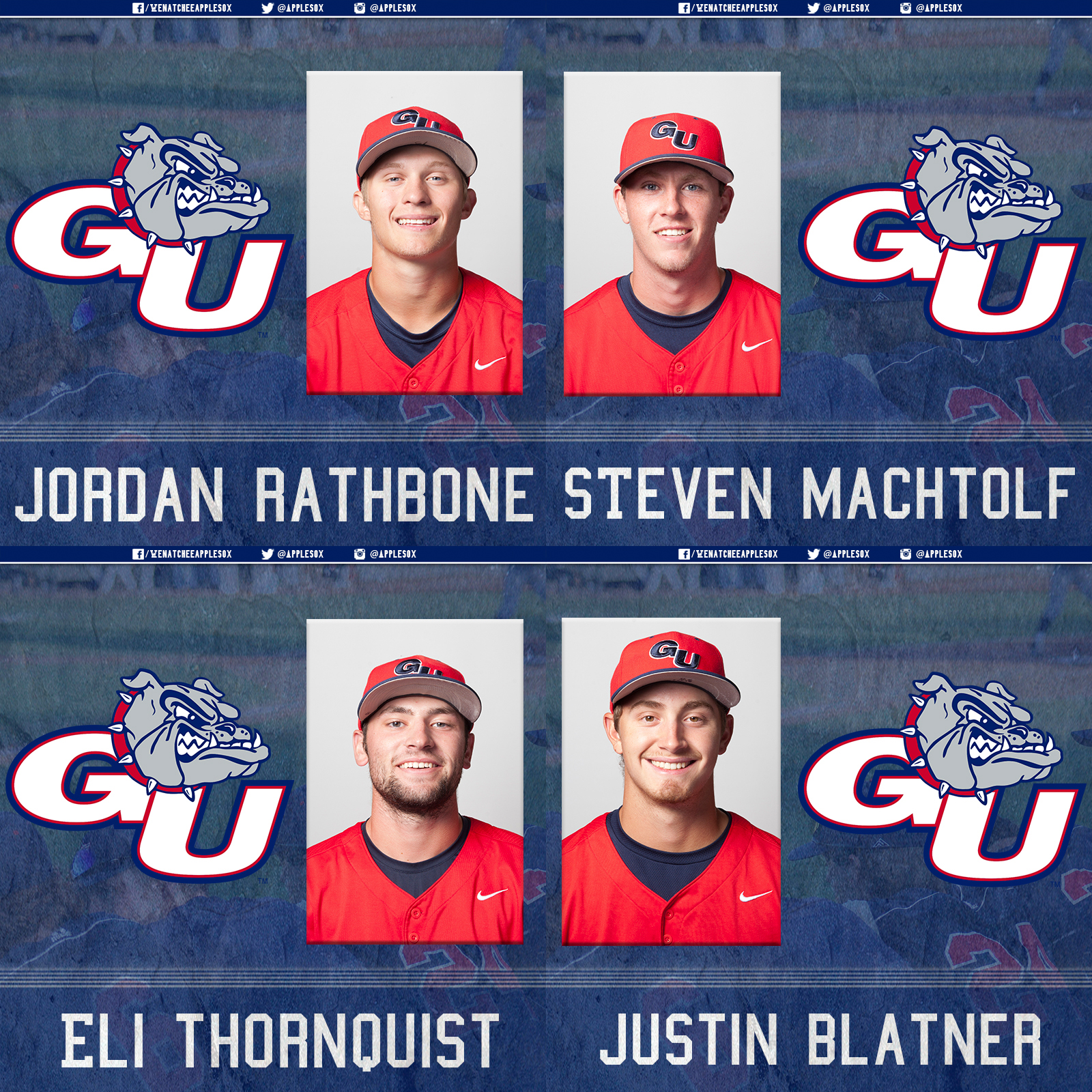 Current Gonzaga Bulldogs Left-handed pitcher Eli Thornquist, left-handed pitcher Justin Blatner, catcher/outfielder Jordan Rathbone, and infielder Steve Machtolf will don AppleSox uniforms this season.
