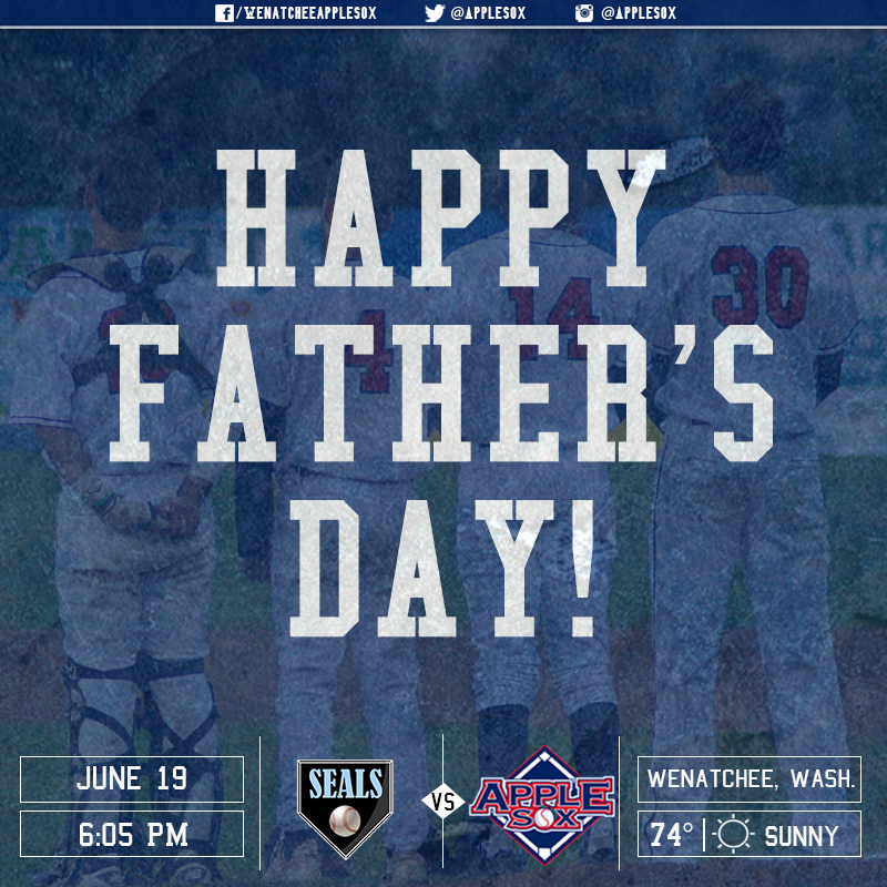 Wenatchee ends a nine-game homestand, Sunday, with a Father's Day matchup against the San Francisco Seals. First pitch is scheduled for 6:05 p.m.