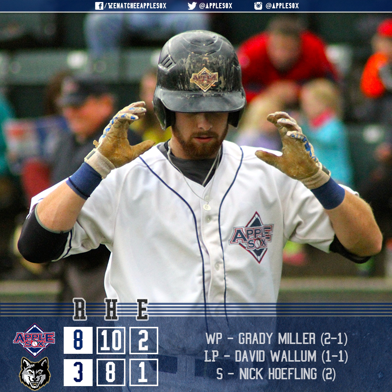 A five-run sixth inning propelled the AppleSox to a 8-3 win, Saturday night in Oregon.