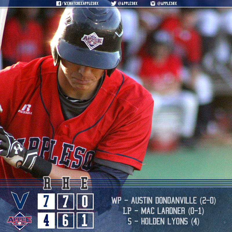The AppleSox took an early lead and tied the game once, but the Victoria HarbourCats held on for a 7-4 victory.