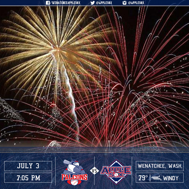The AppleSox welcome the Kelowna Falcons to Paul Thomas Sr. Stadium, for Fireworks Night, Sunday July 3.
