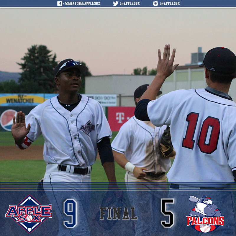 The AppleSox ended the first half of the WCL season on a high note, with a 9-5 win over the Kelowna Falcons.