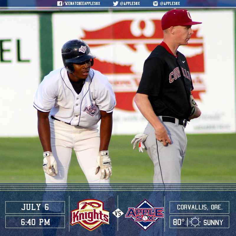 The AppleSox play the Corvallis Knights, who won the WCL South First-Half title, in a three-game series over two days, starting Wednesday night.
