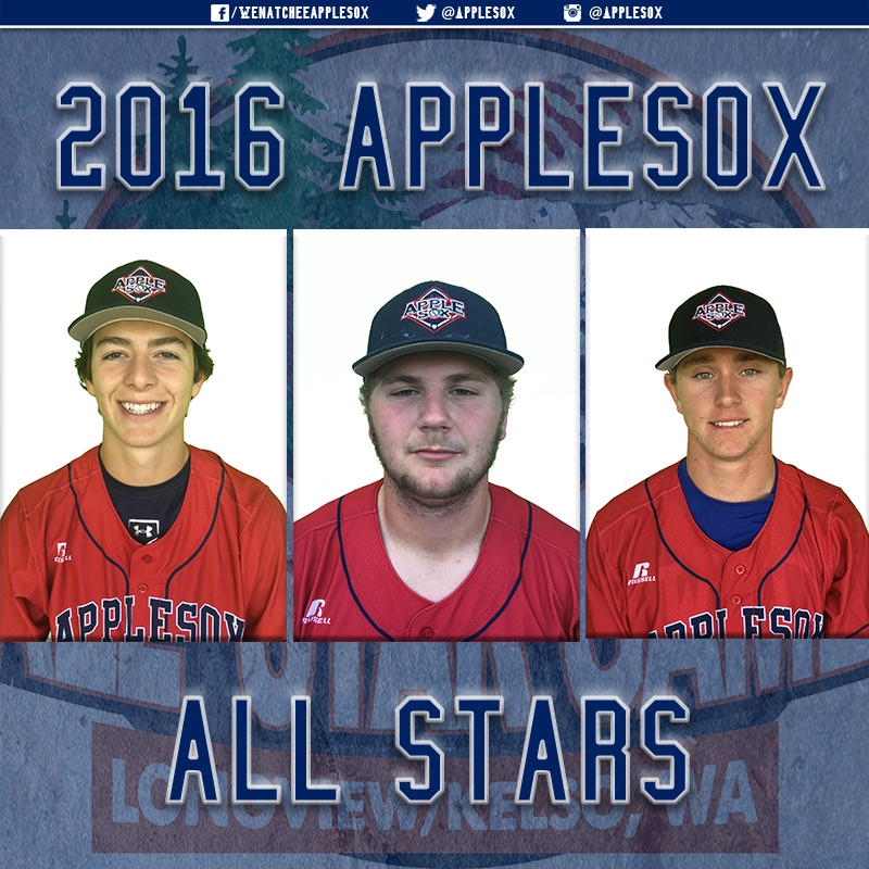 Three AppleSox players will represent Wenatchee in the 2016 West Coast League All Star Game, to be played at Longview, Tuesday June 19. The Cowlitz Black Bears will host.