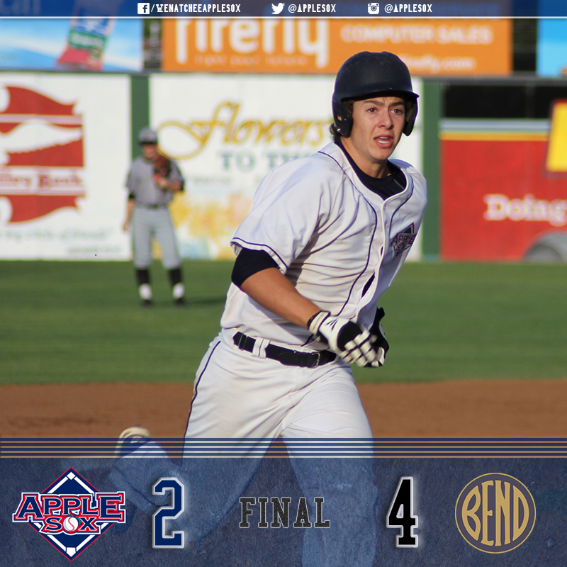 Michael Toglia belted his league-leading fifth home run over the right field fence, Wednesday, but it wasn't enough for an AppleSox offense that mustered just three hits.
