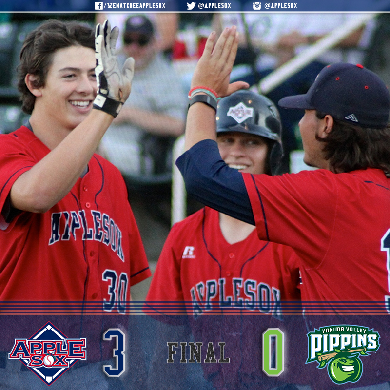 The AppleSox bullpen didn't get charged for a run on the weekend at Yakima Valley, and the AppleSox pitched their way to a third shutout of the season in a 3-0 win.