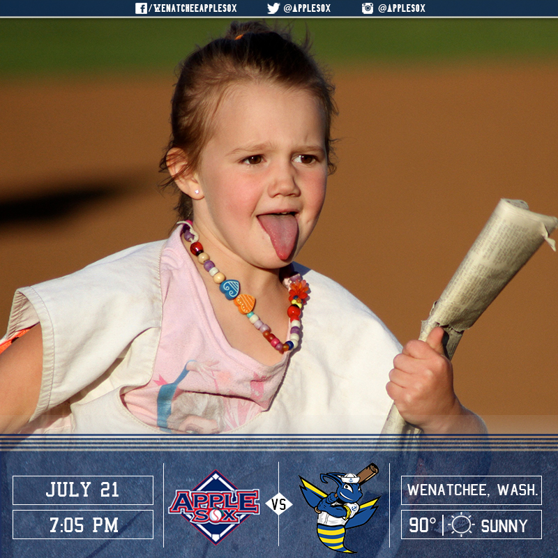 The AppleSox continue a three-game set with the Kitsap BlueJackets, Thursday night at Paul Thomas Sr. Stadium. First pitch will be thrown at 7:05 p.m.
