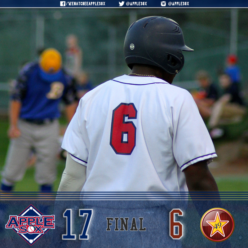 Otis Statum and Sheldon Liikala led a strong offensive attack for the AppleSox, who won 17-6, Friday.