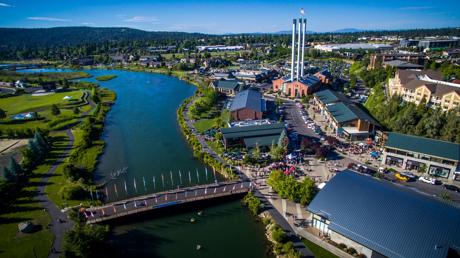 The AppleSox are in Bend, Ore. for their only meeting with the Elks this year. Pictured above: Bend, Ore. Old Mill district.