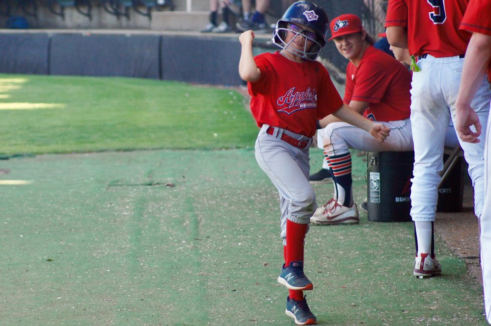 AppleSox bat kid Wyatt DeLozier shows off his dance moves before the Sox faced the Bend Elks on July 12.