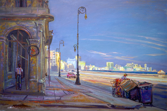 Morning on the Malecon, Havana, Cuba, oil/canvas, 18 x 24, 2002