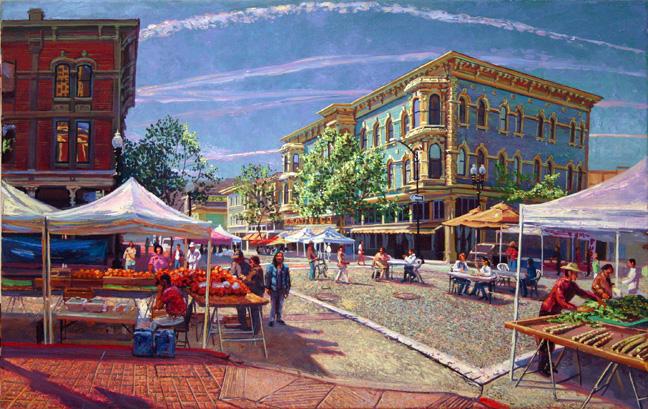 "'Old Oakland Market - April', oil on canvas,  24"" X 35"", 2009"