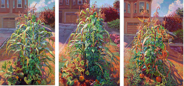 "The Three Sisters July-Sept, oil on canvas, each painting 36"" X 24"", 2008"