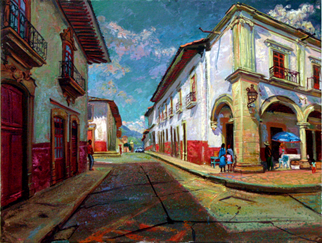 "Un Rincon de la Plaza Grande, Patzcuaro, Michoacan, oil on canvas,18"" X 24"""