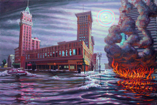 Oakland Global Warming Triptych # 2, oil on canvas, 2009
