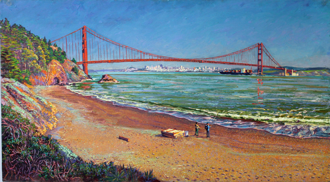 "The Golden Gate Bridge from Kirby Cove, oil/canvas, 20"" X 36"". 2012"