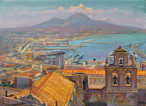 "Naples from Castello San Elmo, 16"" x 23"", oil/canvas, 2012"