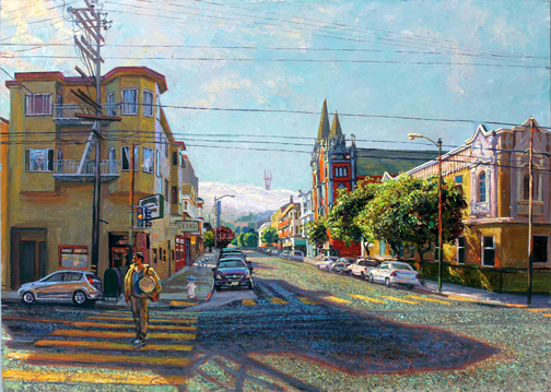 "Incoming Fog, ( at 22nd and S. Van Ness) oil/board, 20"" X 28"", 2014"