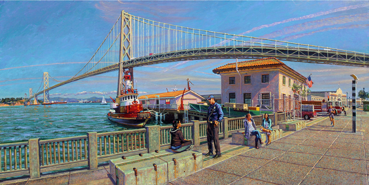 "The Bay Bridge, oil on wood, 20"" X 40"" one of eight views of San Francisco in the Kaiser Permanente Series."