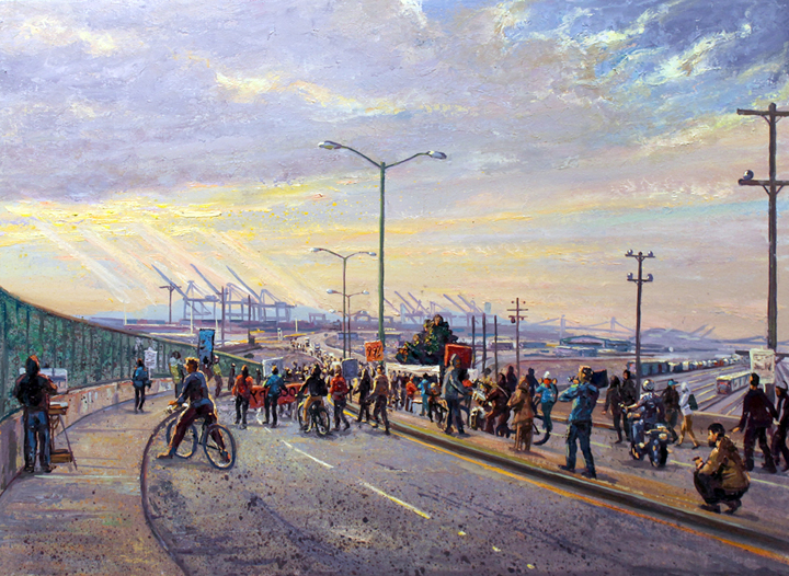 "Occupy the Port of Oakland, 2011( My good friend John Paul Marcelo is painting the same event on the far left. To view a video of many of the Occupy paintings that we painted along with Jessica Joy Jirsa, scroll down to ""Anarcho-Syndicalism. Camille Pissaro and the Occupy Movement"" )"