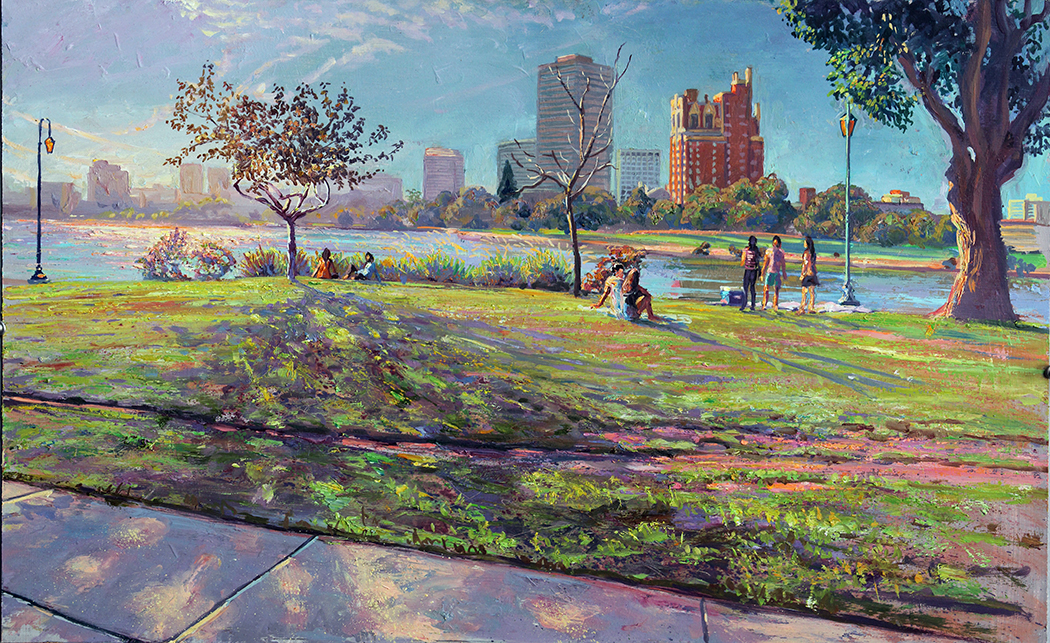 """Late Afternoon Lake Merritt"", 22"" X 36 "", oil/canvas  This is a study for a painting that was commissioned for the Dublin Courthouse by the Alameda Art Commission. It will be on display at my Holiday Exhibition."
