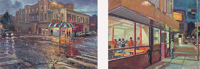 """Rainy Night,Lucca Ravioli"", oil/panel, A Holdsworth ……………………………. ""Evening at El Farolito"", oil/panel, A. Holdsworth"