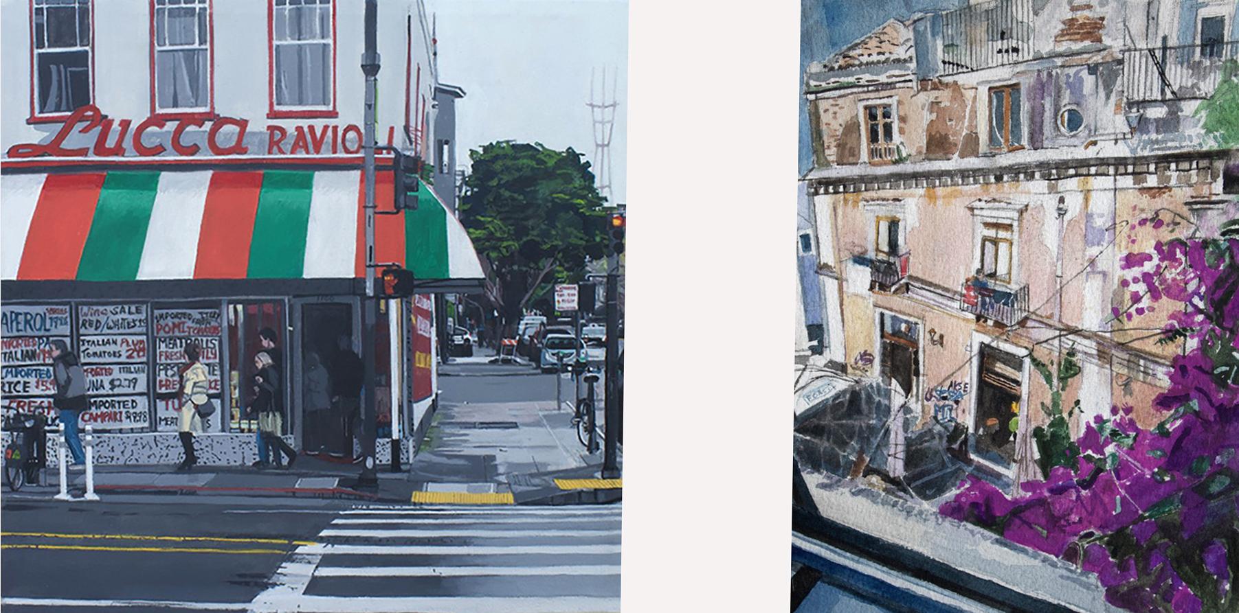 """Vanishing Landmark"", acrylic/canvas, B. Landau ……………………………….. ""Bougainvillea, Catania, Sicily"" Watercolor, B. Landau"