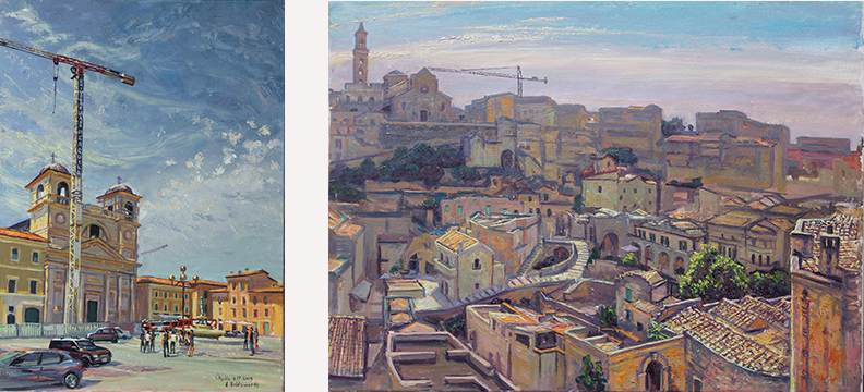 """L'Aquila"", oil/canvas, A. Holdsworth . …………………………………………………..""Matera"", oil/canvas, A. Holdsworth"