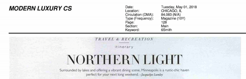 Modern Luxury (Chicago)  (May 2018) -  'Travel & Recreation: Itinerary | Northern Light'