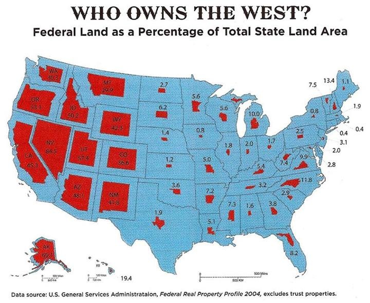 Learn more about the Federal government's land ownership here.