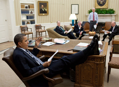 president obama resolute desk feet disrespect public housing